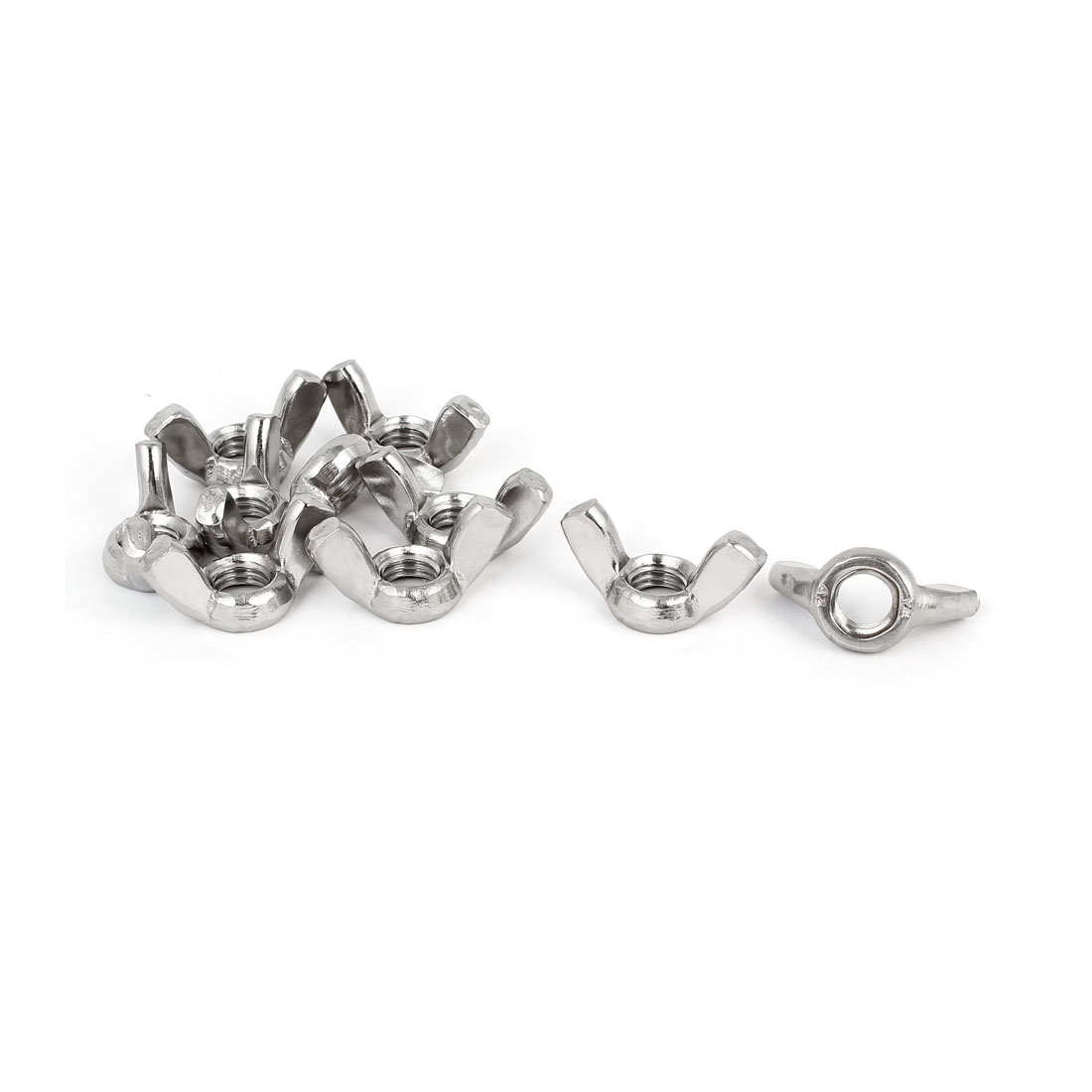 304 Stainless Steel Wingnut Butterfly Wing Nuts Silver Tone M10 10pcs