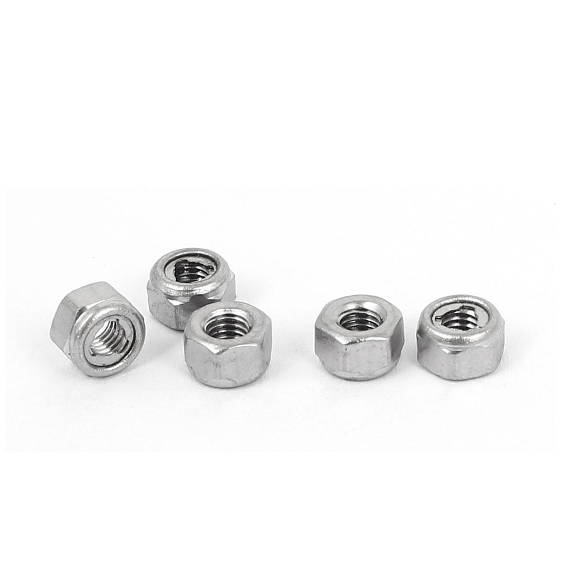 M3 304 Stainless Steel Self-Locking Anti-loose Insert Hex Lock Nut 5pcs