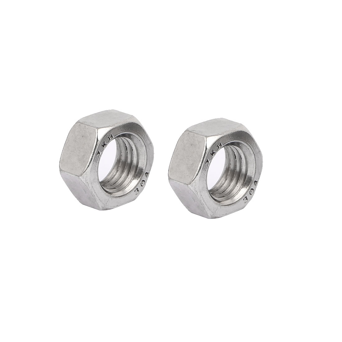 304 Stainless Steel Finished Metric Hex Nut Silver Tone M18 2pcs