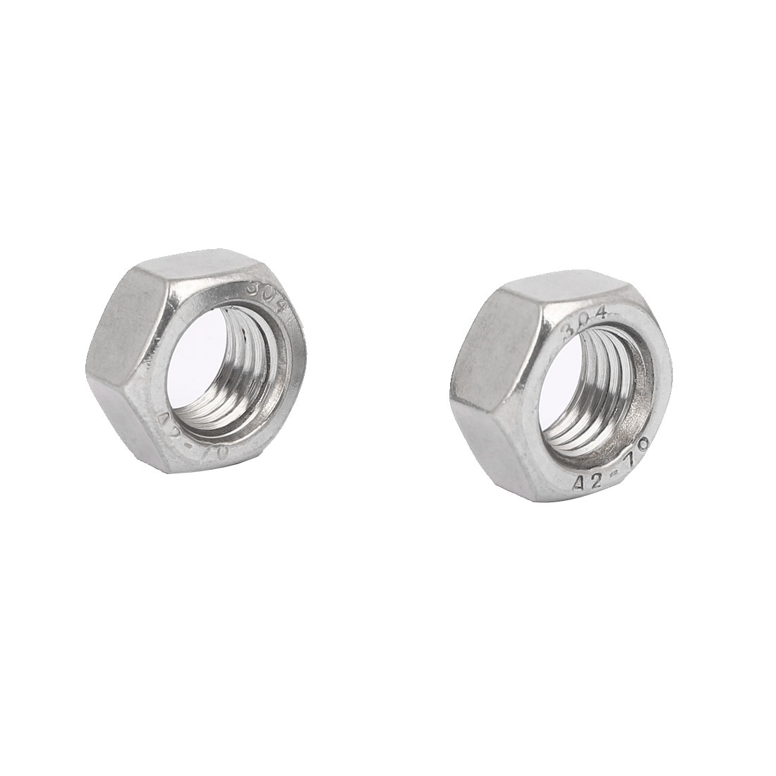 304 Stainless Steel Finished Metric Hex Nut Silver Tone M20 2pcs