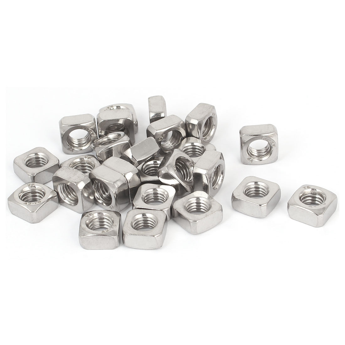 304 Stainless Steel Square Machine Screw Nuts Silver Tone M8 25Pcs