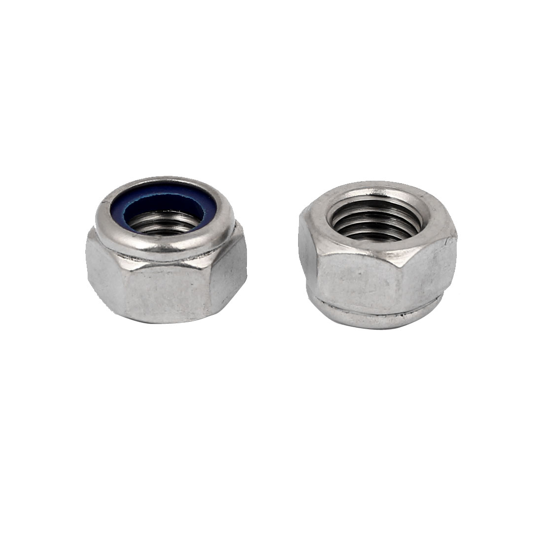 304 Stainless Steel Nylock Nylon Insert Hex Lock Nuts Silver Tone M18 2pcs