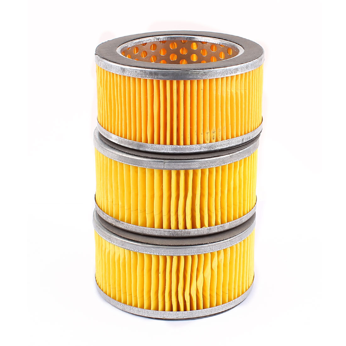 Yellow Cylinder Shape Inside Dia Air Compressor Element Filter Assembly Spare Part 10.7cm x 51cm 3PCS