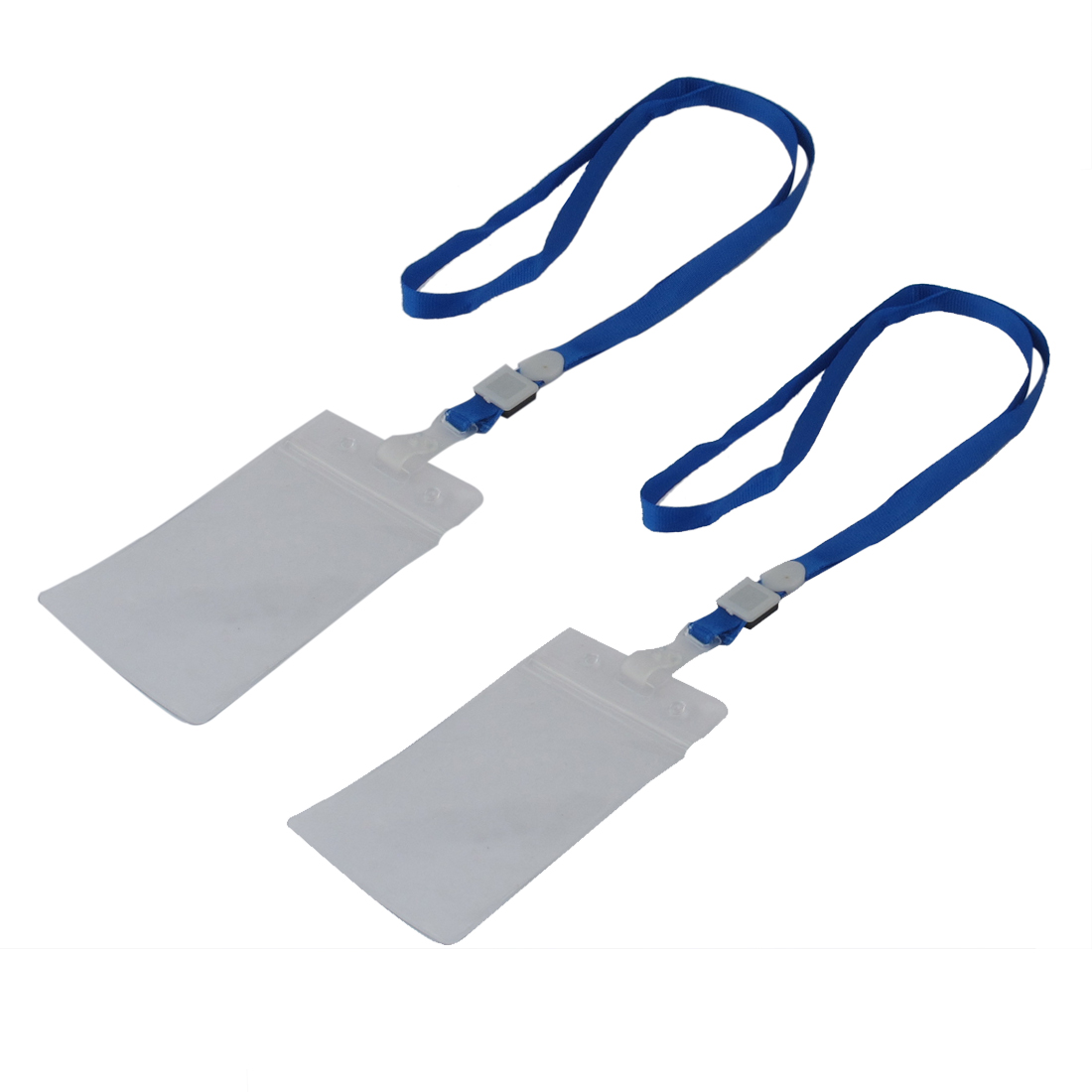 School Office Work Plastic Vertical ID Credit Card Badge Holder Pouch Clear 2pcs