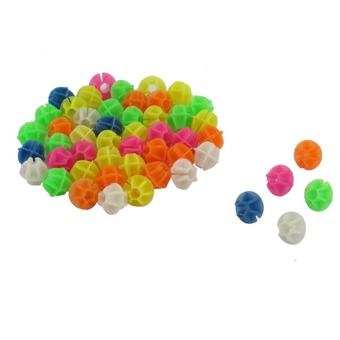 "Bike Bicycle Spoke Plastic Beads Decoration Assorted Color 0.55"" Dia 50 Pcs"