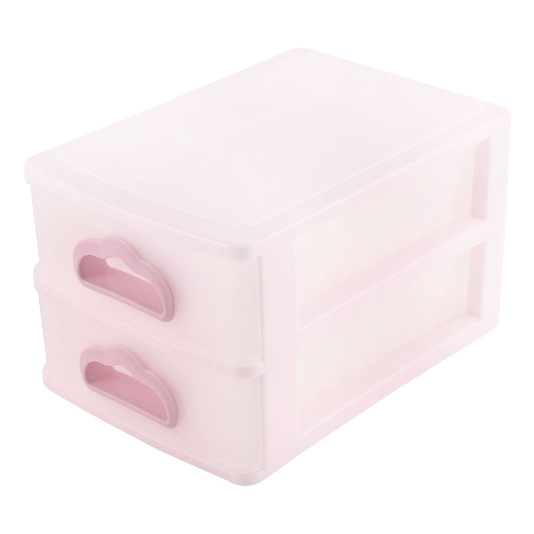 Office Home Hard Plastic Double Layers Sorting Storage Case Light Pink