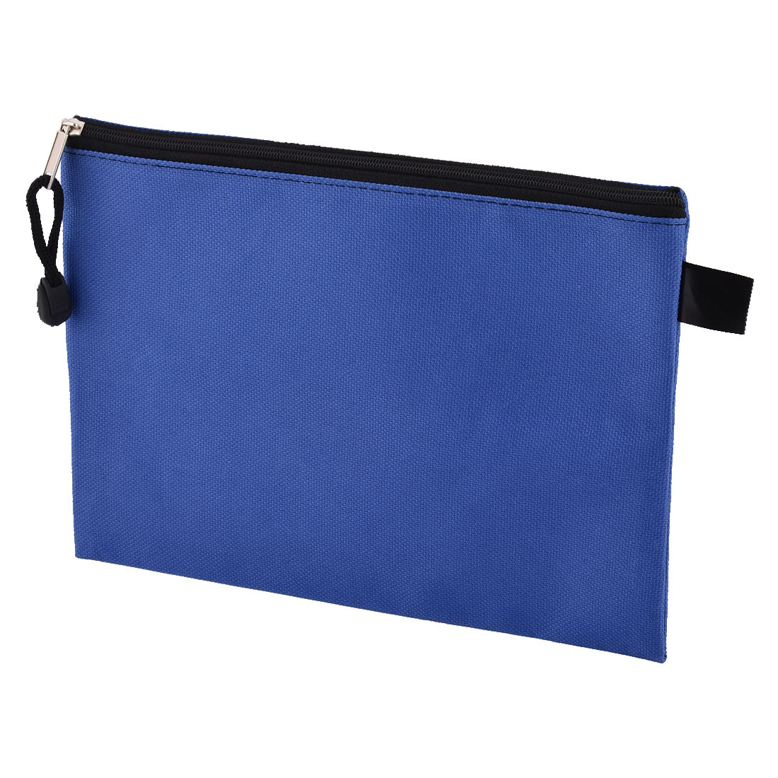 Office Nylon A5 Paper Zippered Closure File Document Bag Storage Holder Blue