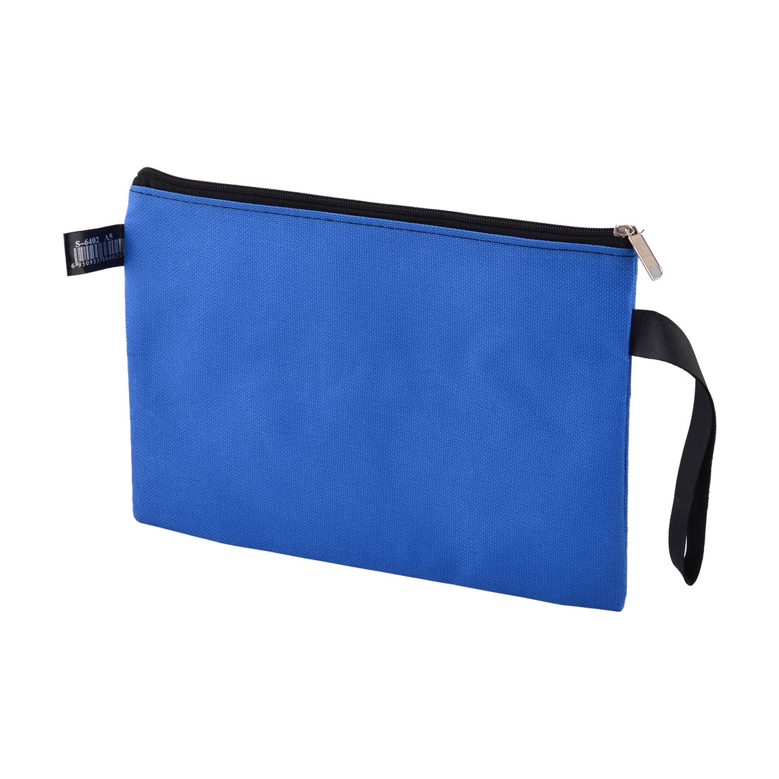 Office School Nylon A5 Paper Zippered Closure File Document Bag Storage Holder Blue