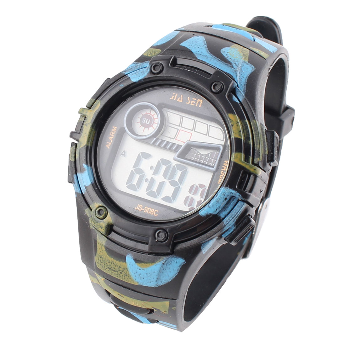 Plastic Water Resistant Digital LED Backlight LCD Screen Sports Alarm Watch