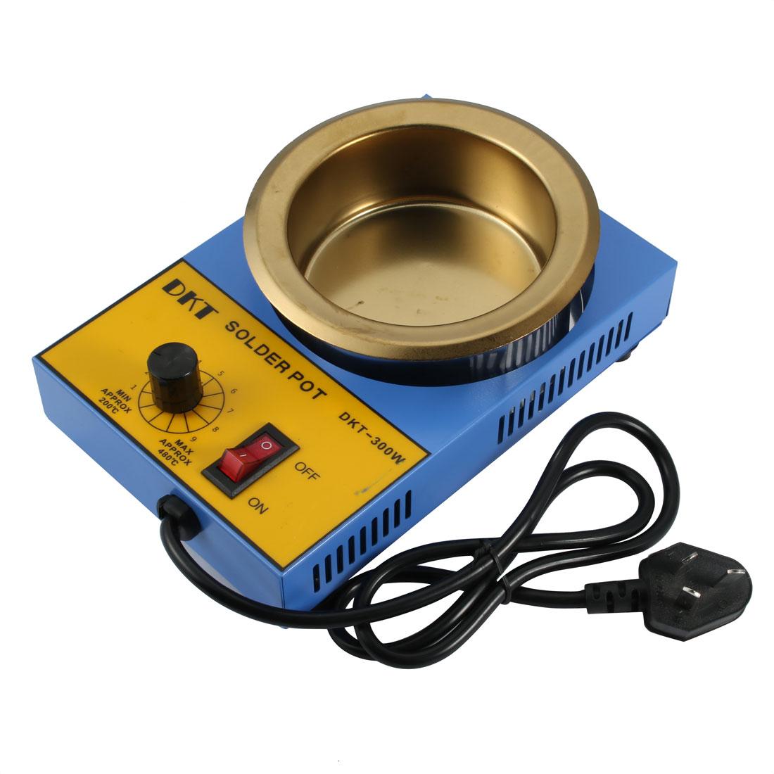 AC 220V 50HZ 300W Round Solder Pot Soldering Desoldering Base Blue Gold