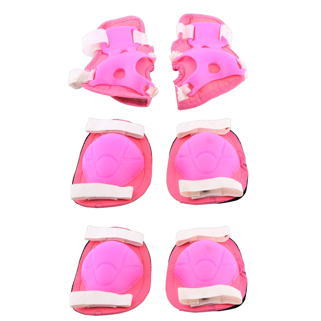 Cycling Roller Skating Sports Knee Elbow Wrist Pads Protective Outfits Pink 6 in 1