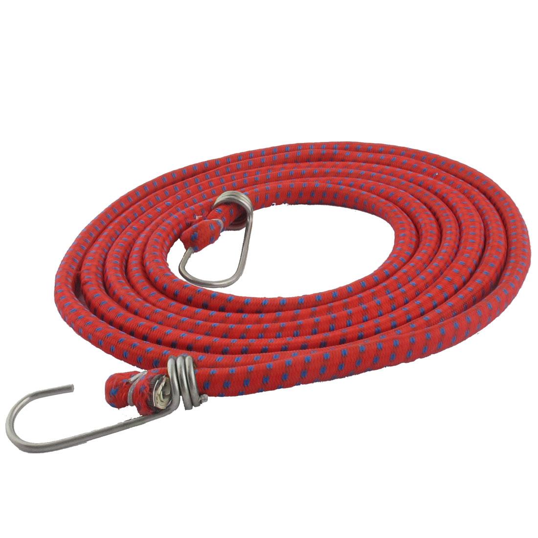 Bike Bicycle Luggage Metal Hook Clasp Blue Red Stretchy Braid Rope Cord 2.8M