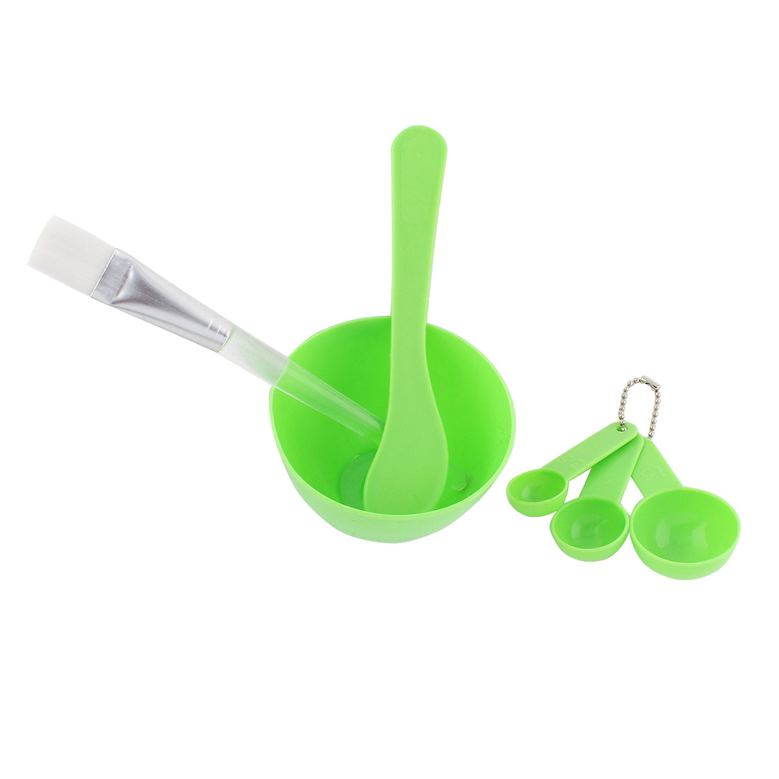 Home Plastic DIY Facial Mask Bowl Measuring Spoon Stick Brush Tool Green 6 in 1