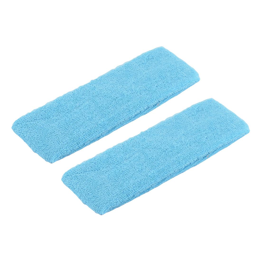 Woman Elastic Fabric Headband Sports Sweatband Light Blue 2pcs