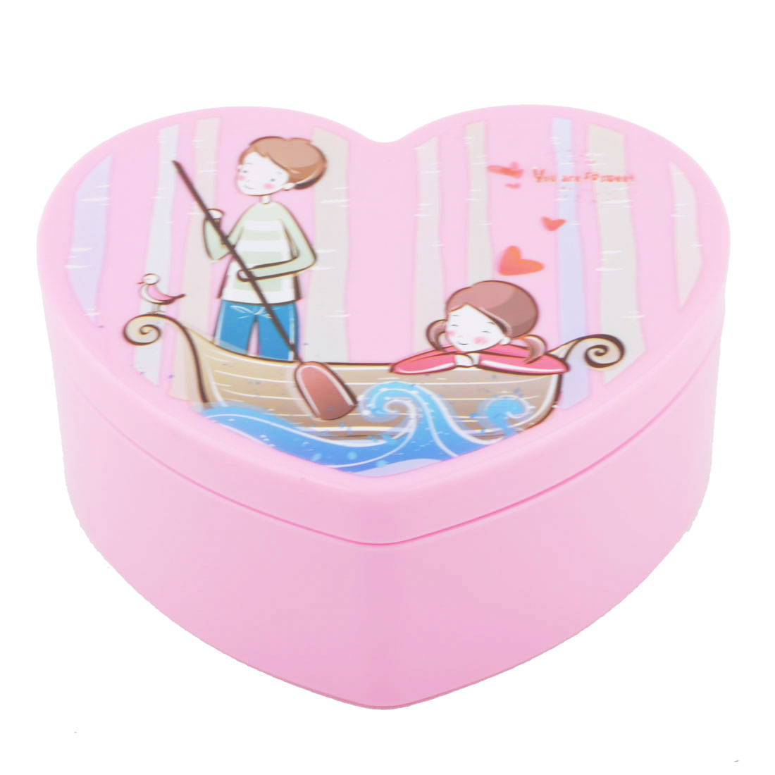 Lady Plastic Heart Shape Cosmetic Organizer Makeup Jewelry Storage Box Case Pink