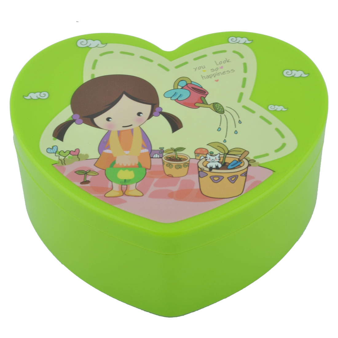 Lady Plastic Heart Shape Cosmetic Organizer Makeup Jewelry Storage Box Case Green