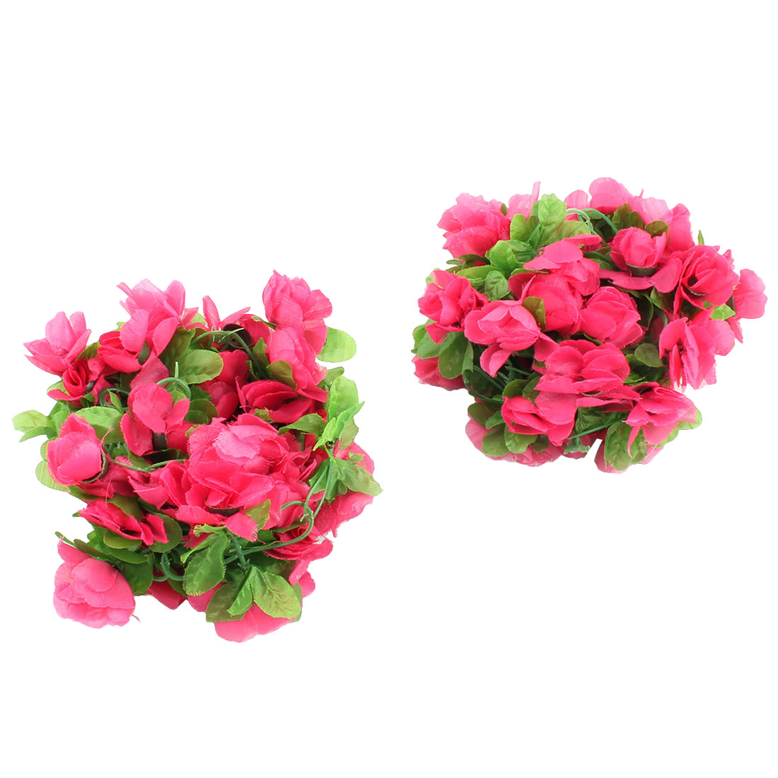 Grapes Orchard Vine Artificial Flower Leaf Wall Decorative Hanging Green Fuchsia 2M 2pcs