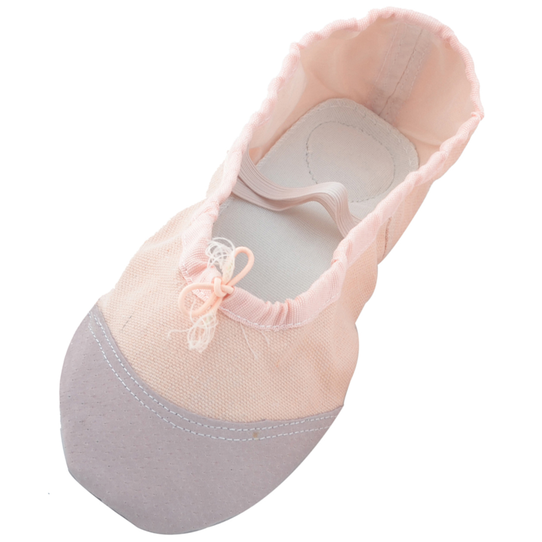 Lady Soft Canvas Elastic Cross Bands Flat Ballet Dancing Shoes Apricot Size 41 Pair