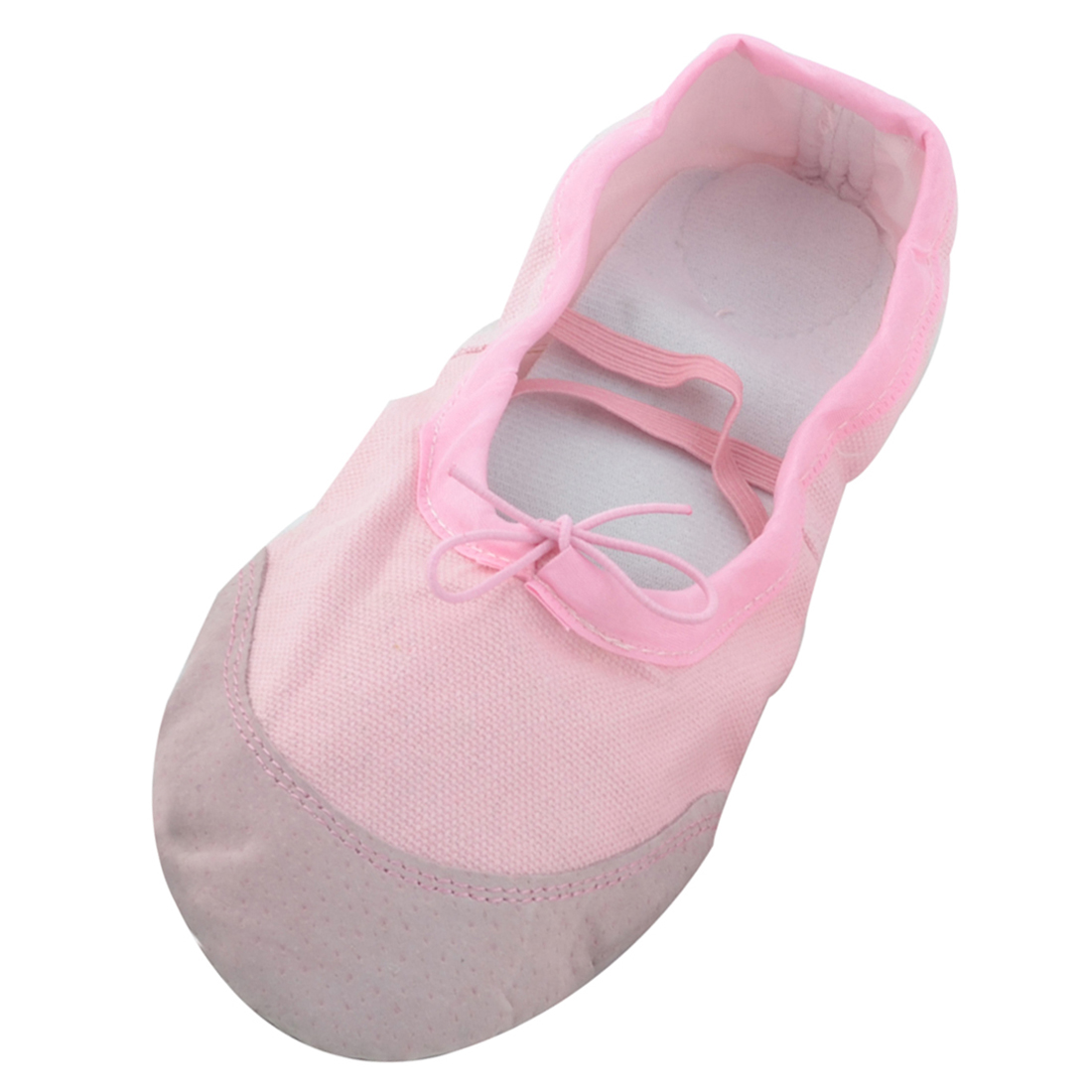 Lady Soft Canvas Elastic Cross Bands Flat Ballet Dancing Shoes Pink Size 41 Pair