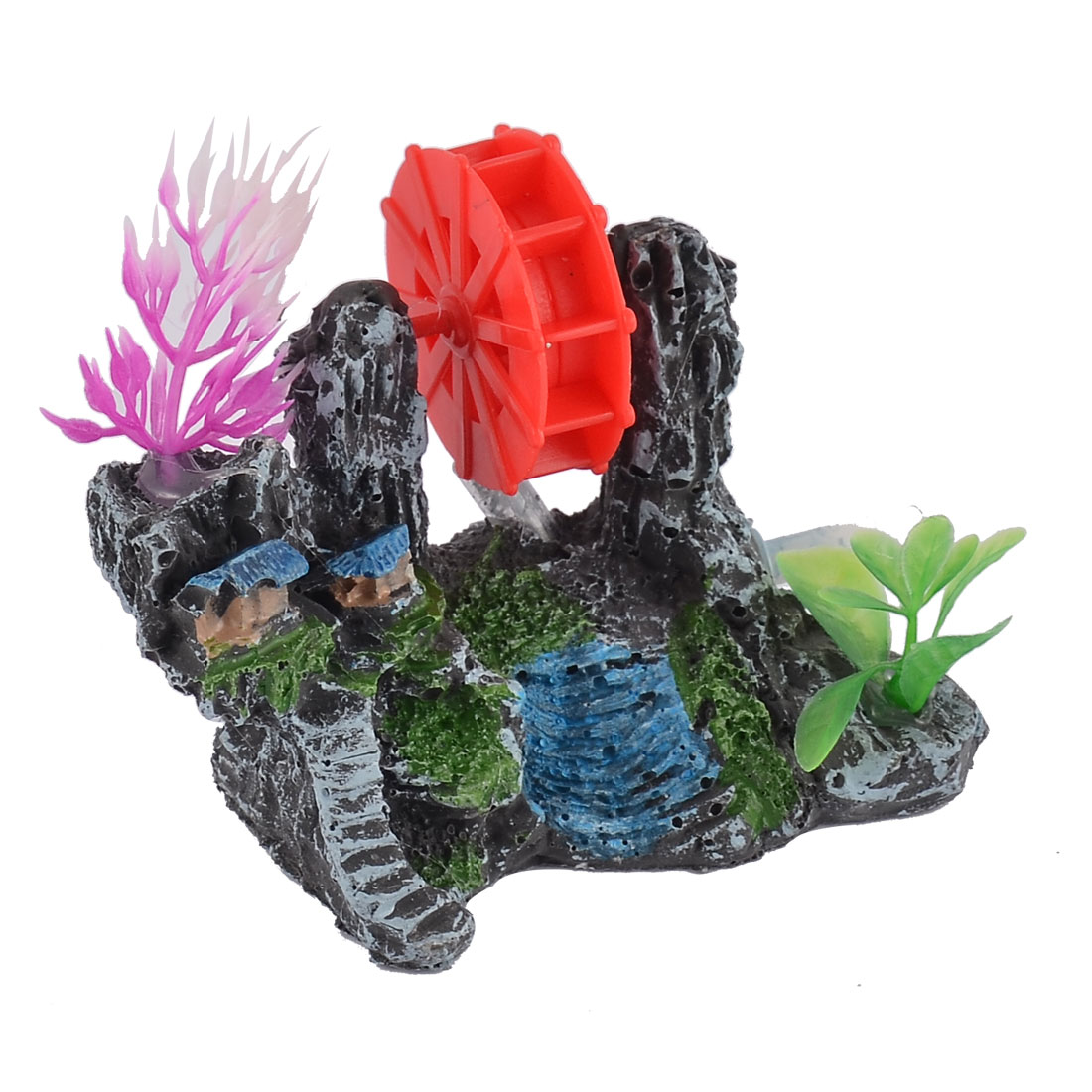 Aquarium Ceramic Waterwheel Water Plants Ornament Manmade Landscape for Fish Tank