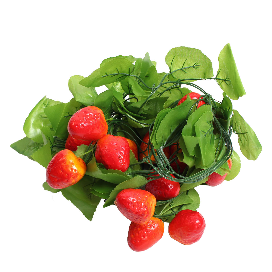 Orchard Vine Artificial Strawberry Leaf Wall Decorative Hanging Green Red 2.6M 5pcs