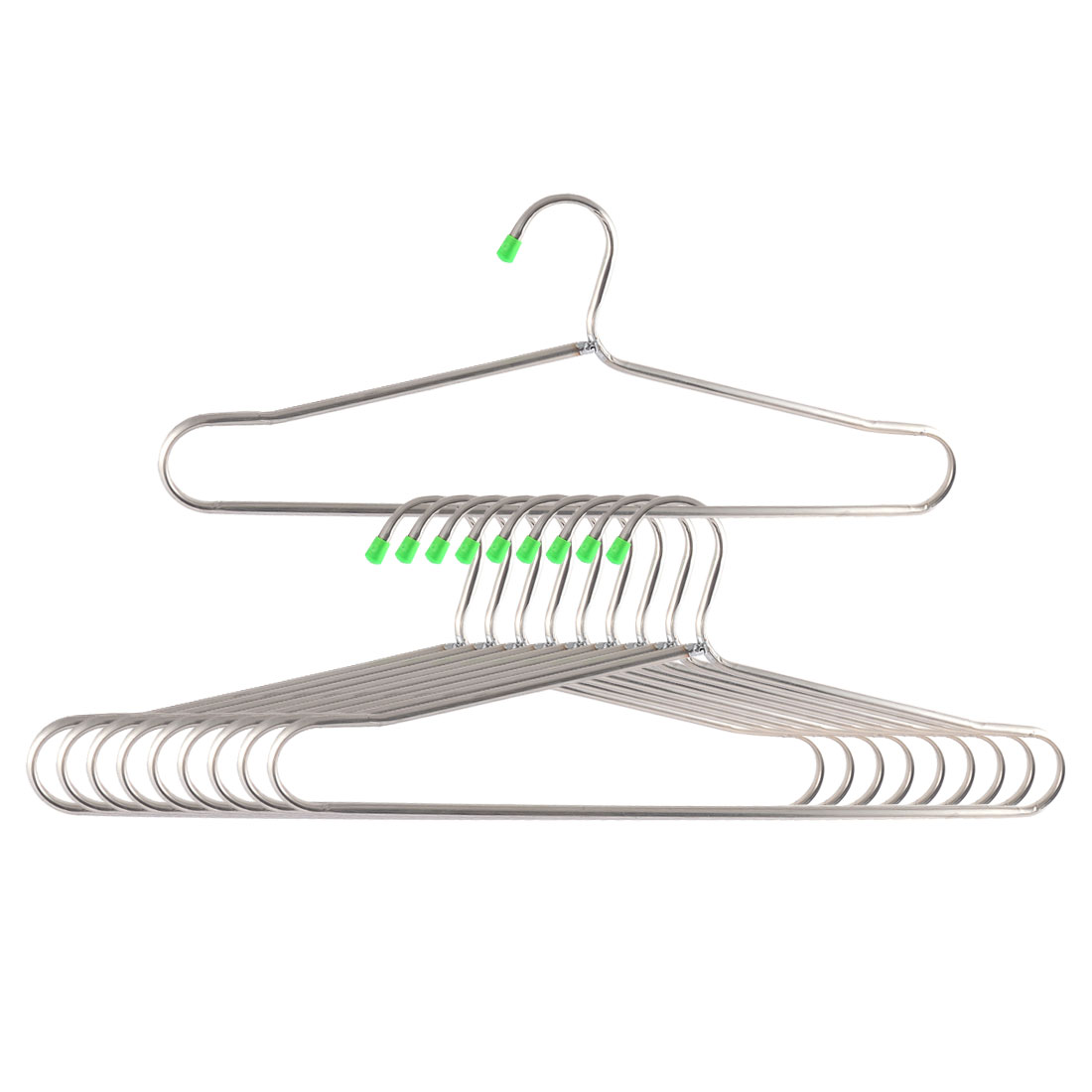 Household Metal Nonslip Clothes Towel Skirts Hangers Hooks Silver Tone 10pcs
