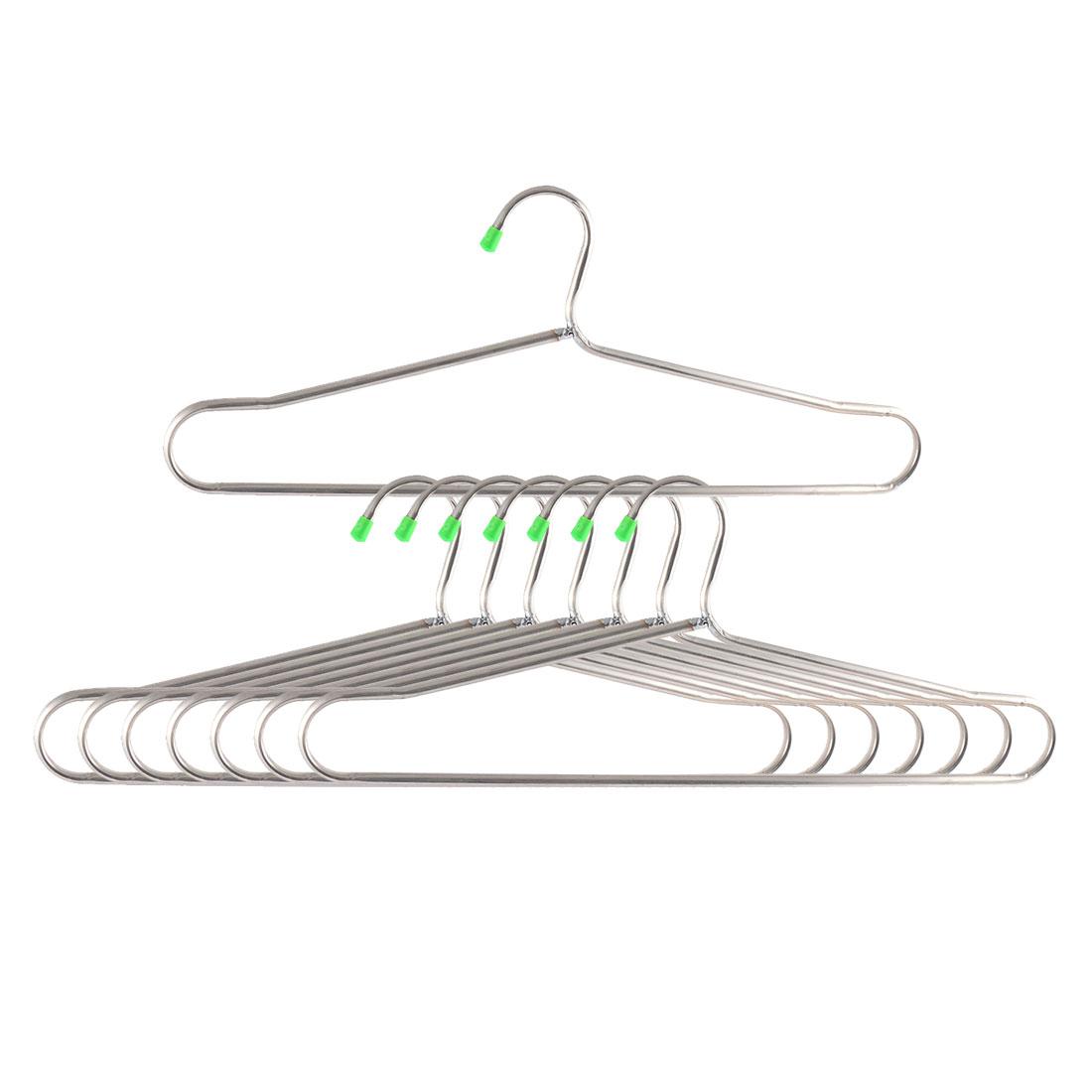 Household Metal Nonslip Clothes Towel Skirts Hangers Hooks Silver Tone 8pcs