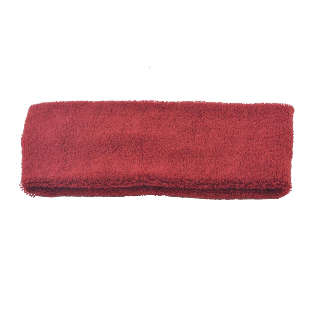 Lady Elastic Fabric Sports Exercise Headband Sweatband Hair Band Burgundy 2pcs