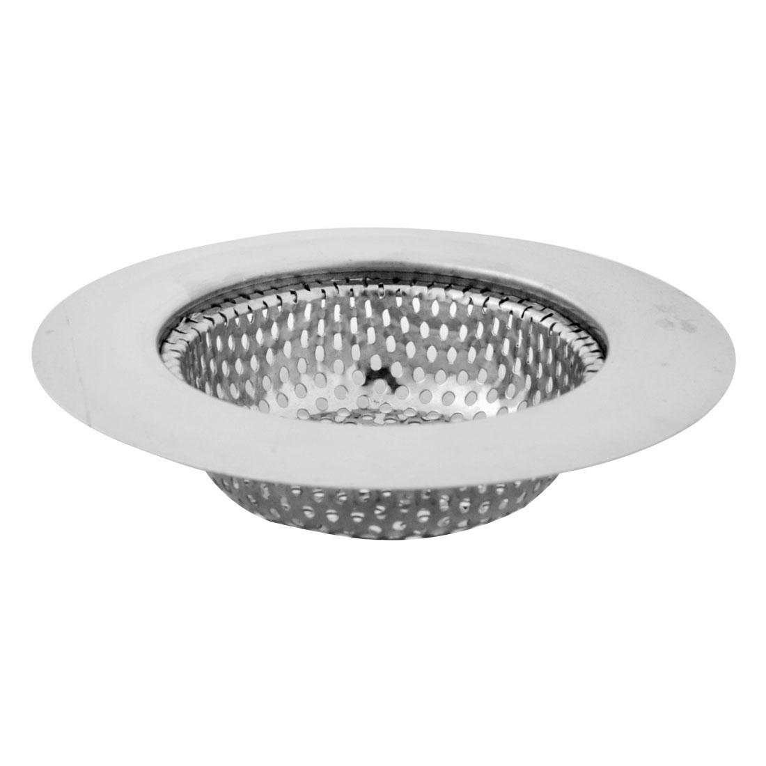 Kitchen Bathtub Stainless Steel Sink Garbage Strainer Filter Drain Stopper Silver Tone