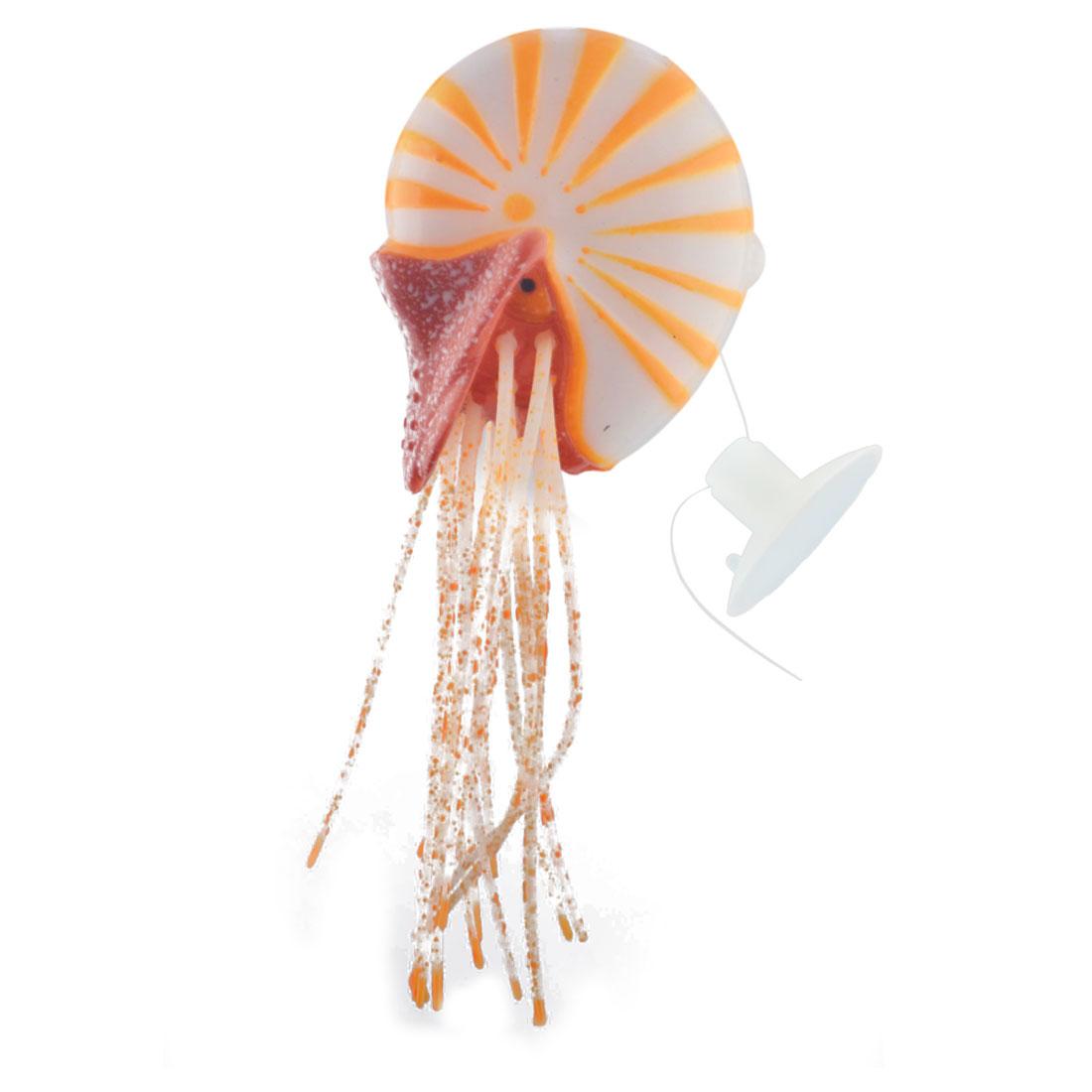 Aquarium Plastic Manmade Artificial Floating Conch Design Decoration Ornament Orange