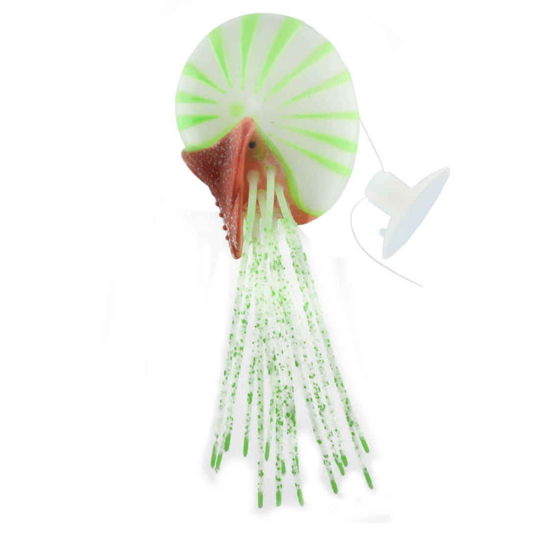 Aquarium Plastic Manmade Artificial Floating Conch Design Decoration Ornament Green
