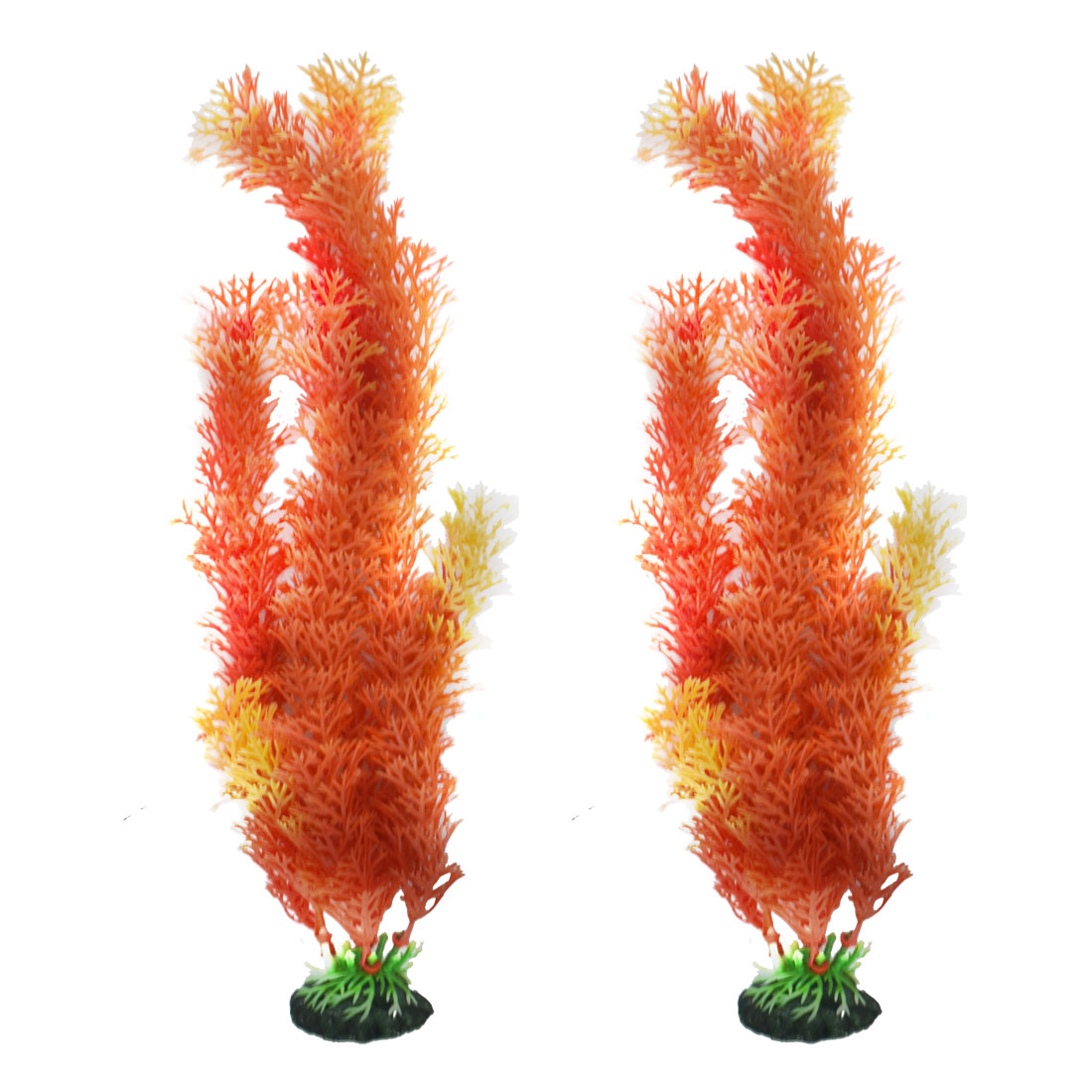 Aquarium Fish Bowl Plastic Artificial Manmade Water Plant Grass Decor Ornament Orange 2pcs