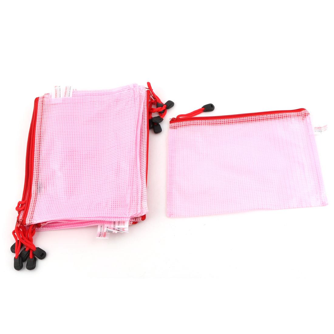 Office School Netting Surface Zipper Closure A5 Document File Bag Holder Pink 12 Pcs