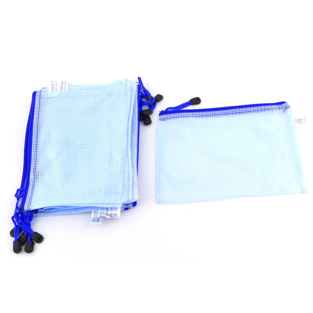 Office School Water Resistant A5 Document Stationery Zipper File Bag Light Blue 12 Pcs