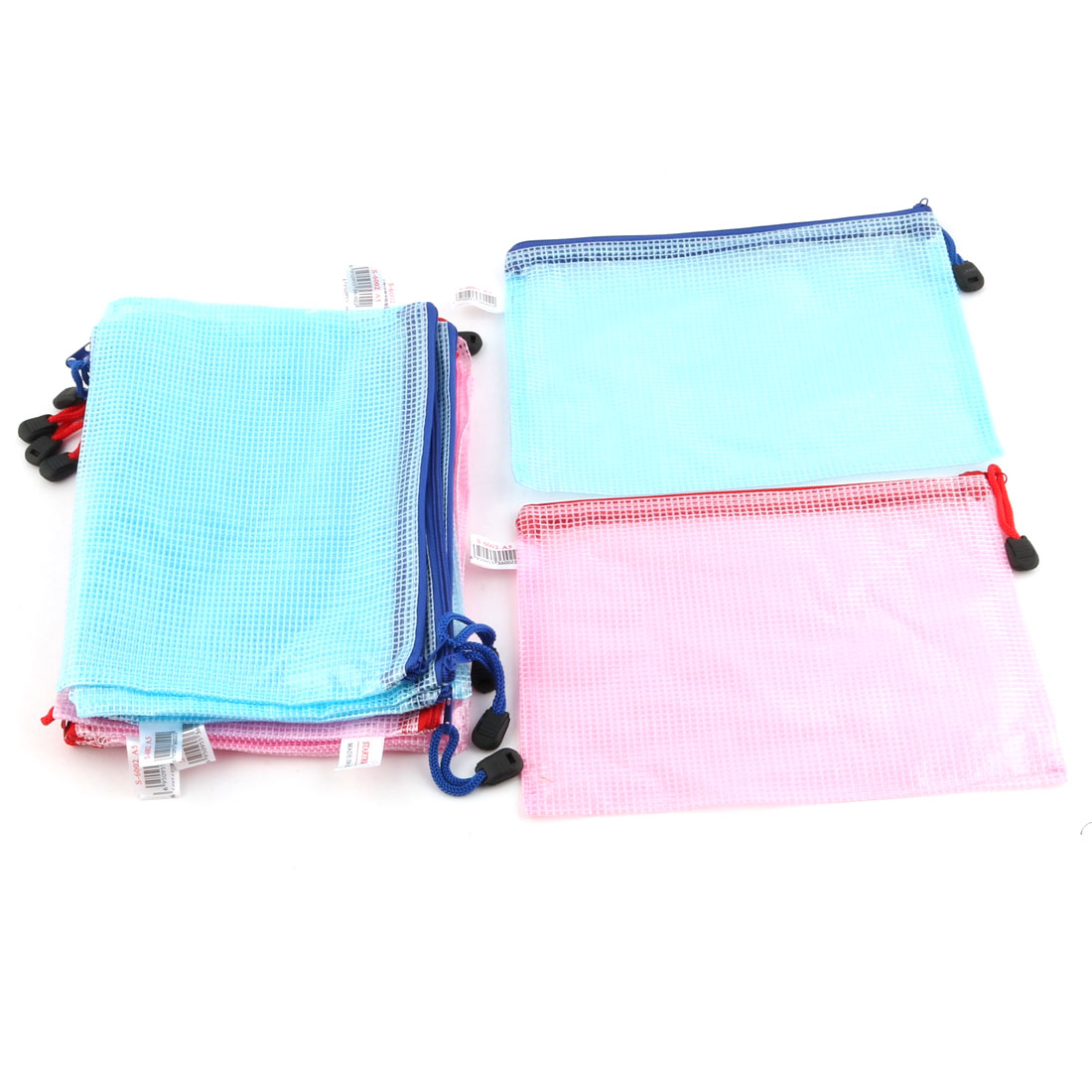 School Office Netting Surface A5 Cash Coin Stationery Storage Zipper File Bag 12 Pcs