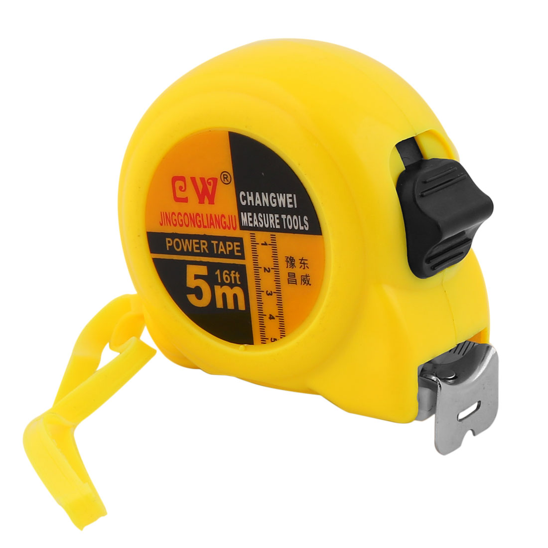 Plastic Shell Retractable Flexible Tape Measure Ruler 5 Meter 16Ft Yellow