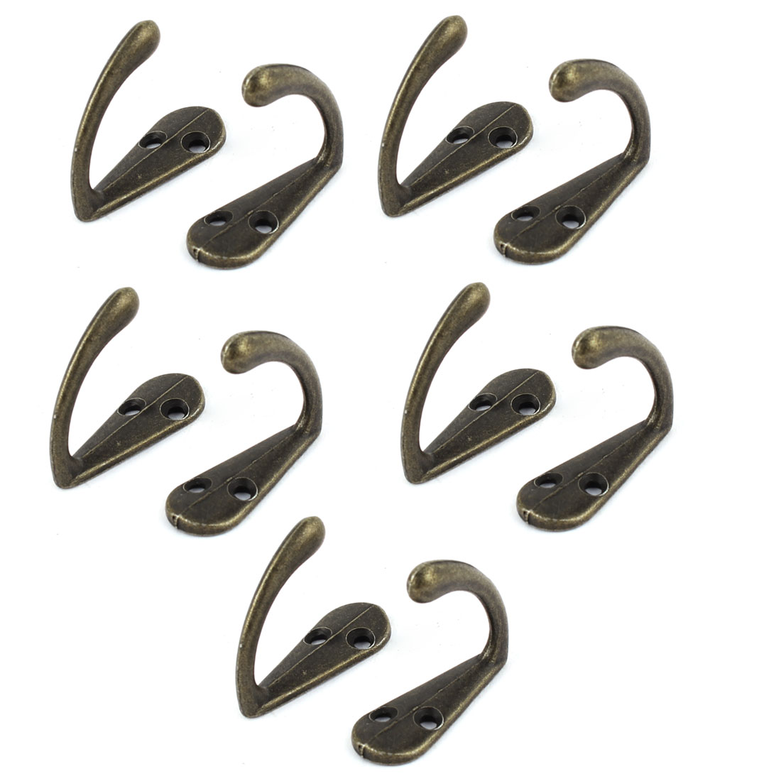 35mm Long Vintage Style Screw Fixing Clothes Hanger Hook Bronze Tone 10 PCS