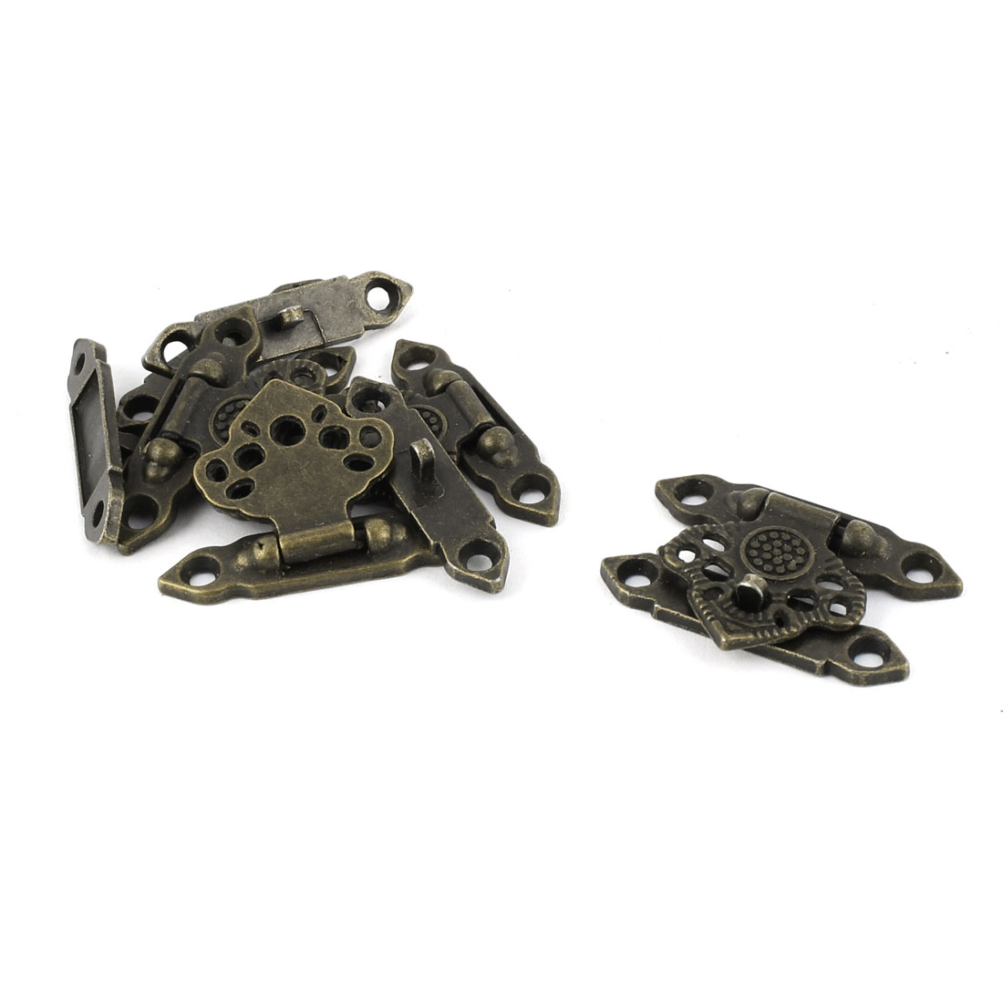 Hollow Leaf Shape Zinc Alloy Vintage Hasp Jewelry Box Latch Bronze Tone 5pcs