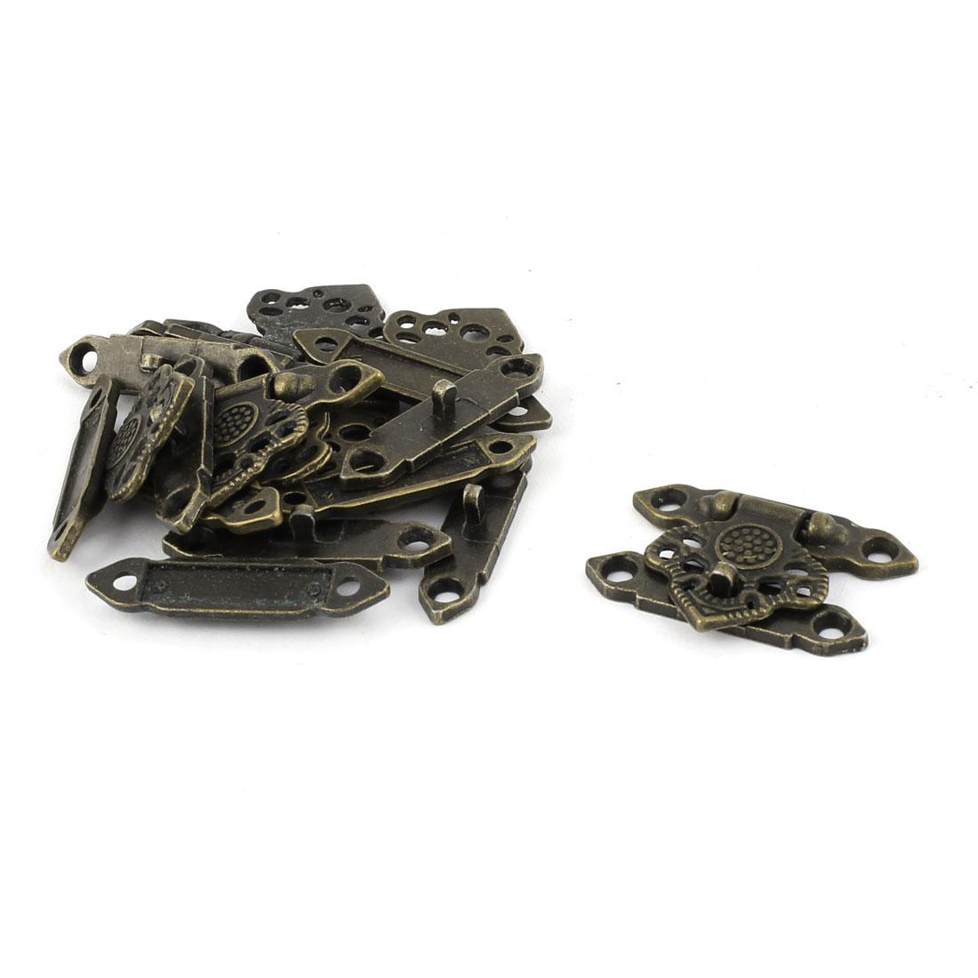 Hollow Leaf Shape Zinc Alloy Vintage Hasp Jewelry Box Latch Bronze Tone 8 PCS