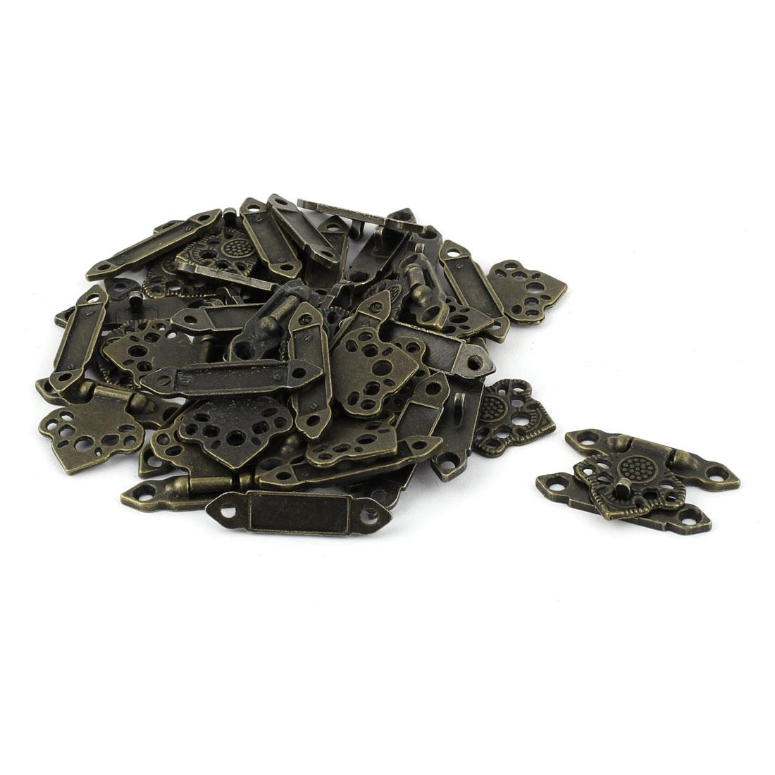 Hollow Leaf Shape Zinc Alloy Vintage Hasp Jewelry Box Latch Bronze Tone 20 PCS