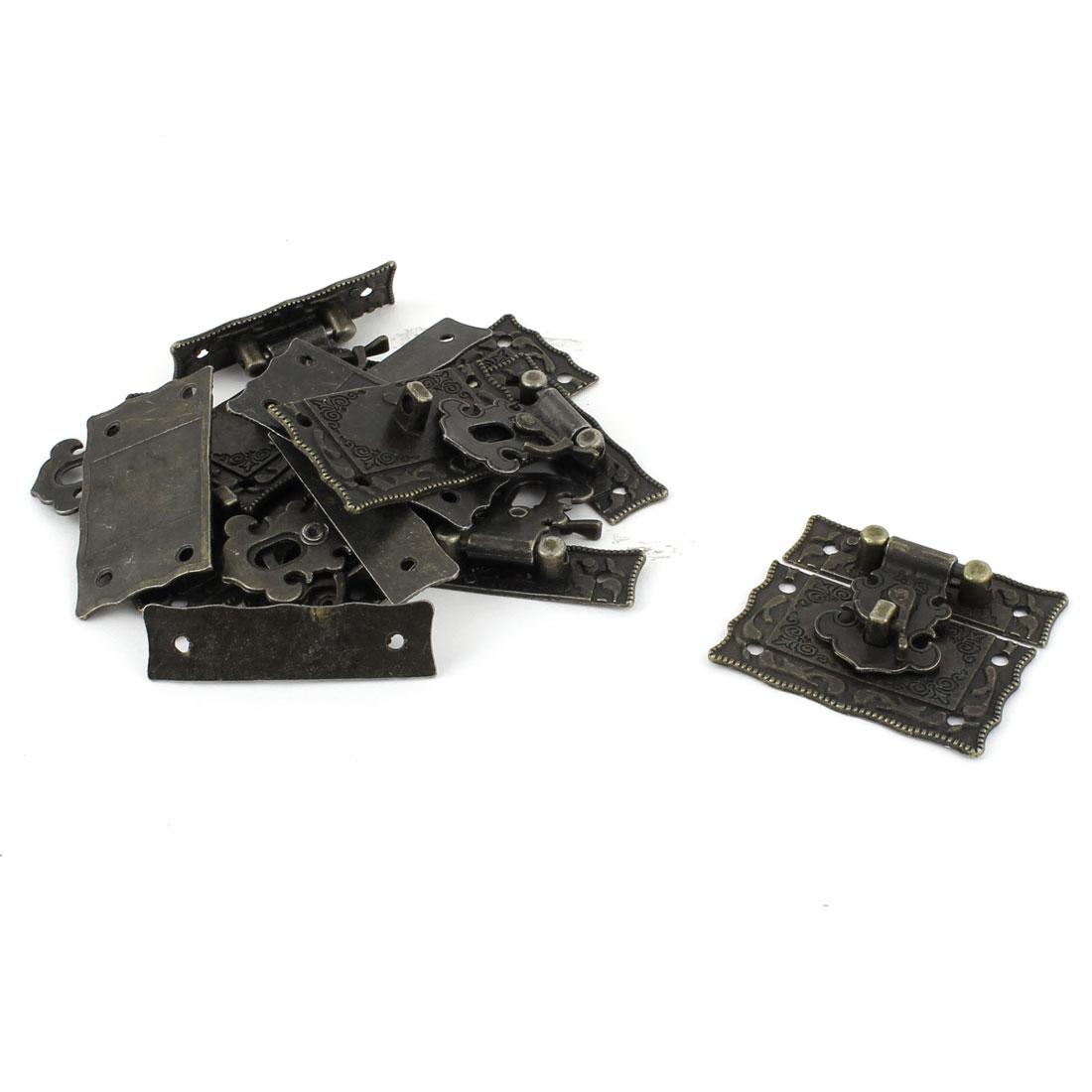 Rectangular Decorative Metal Hasp Pad Lock Vintage Latch Bronze Tone 8 PCS