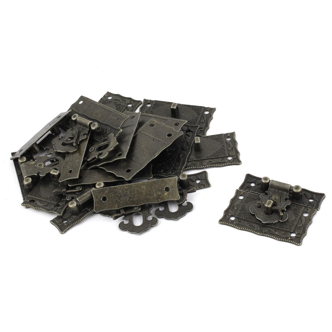 Rectangular Decorative Metal Hasp Pad Lock Vintage Latch Bronze Tone 10 PCS