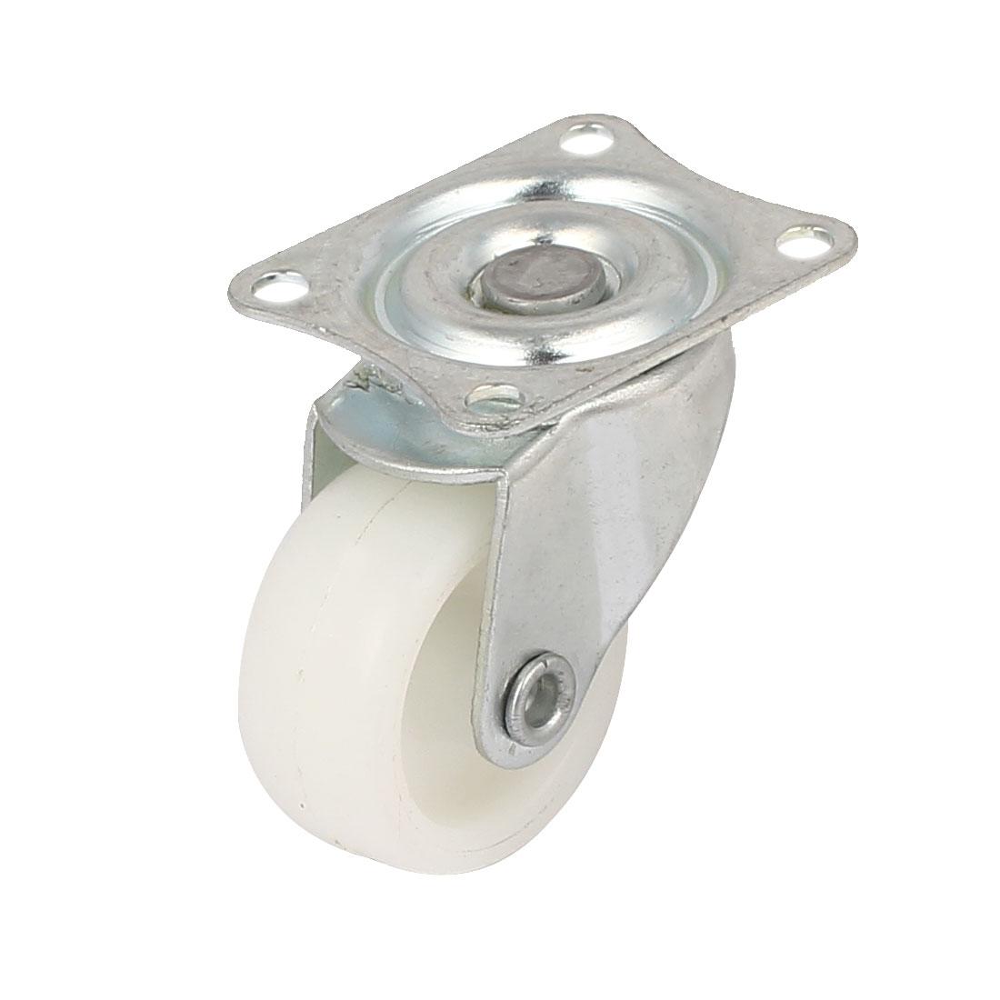"""1.2"""" Dia 360 Degree Top Plate Nylon Swivel Caster Wheel White"""
