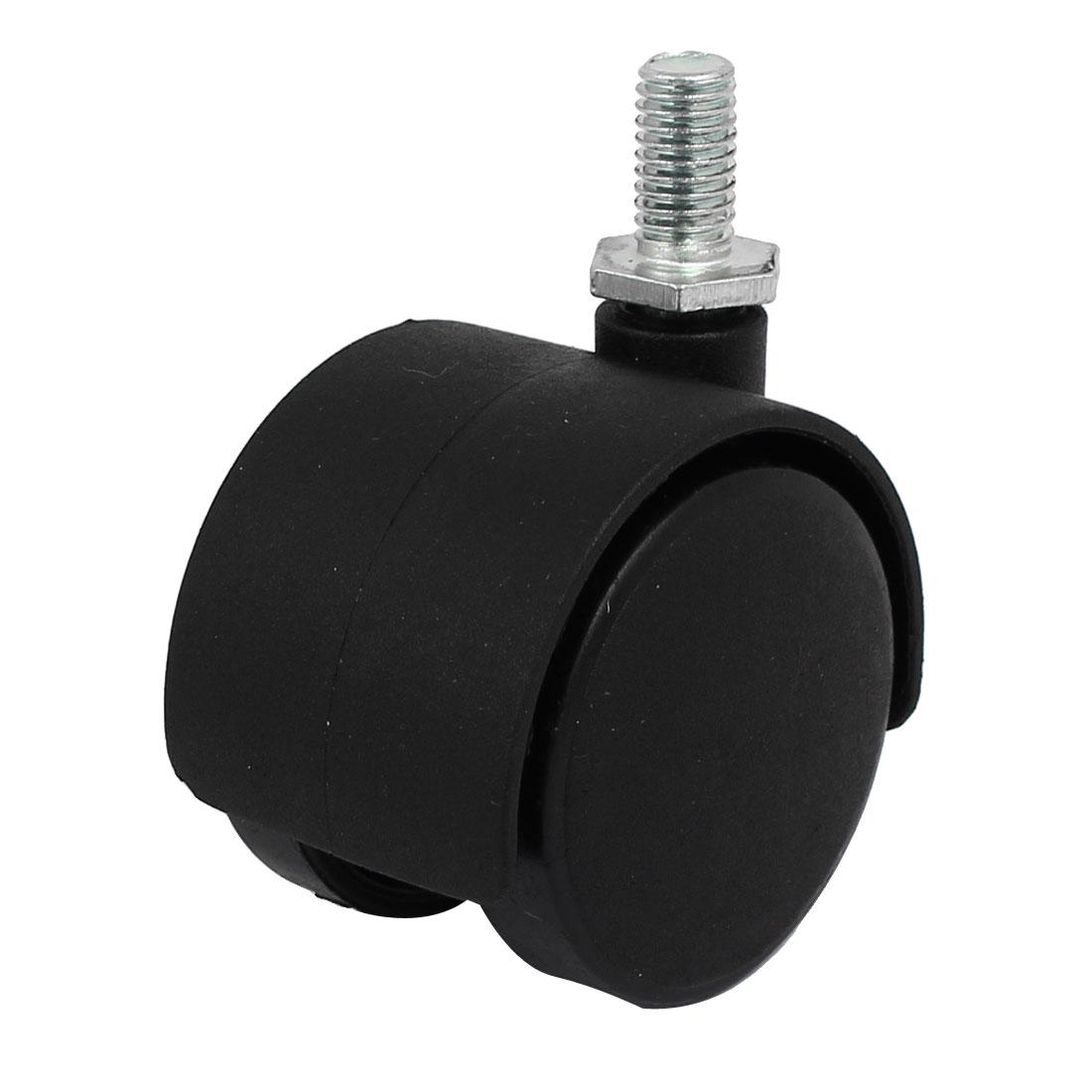 """8mm x 15mm Threaded Stem 1.5"""" Wheel Dia Swivel Non-Brake Caster for Chair"""