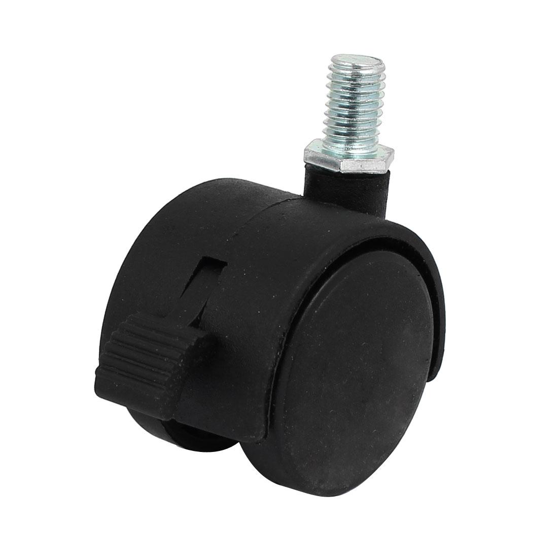 """10mm x 15mm Threaded Stem 1.5"""" Wheel Dia Swivel Brake Caster Black for Chair"""
