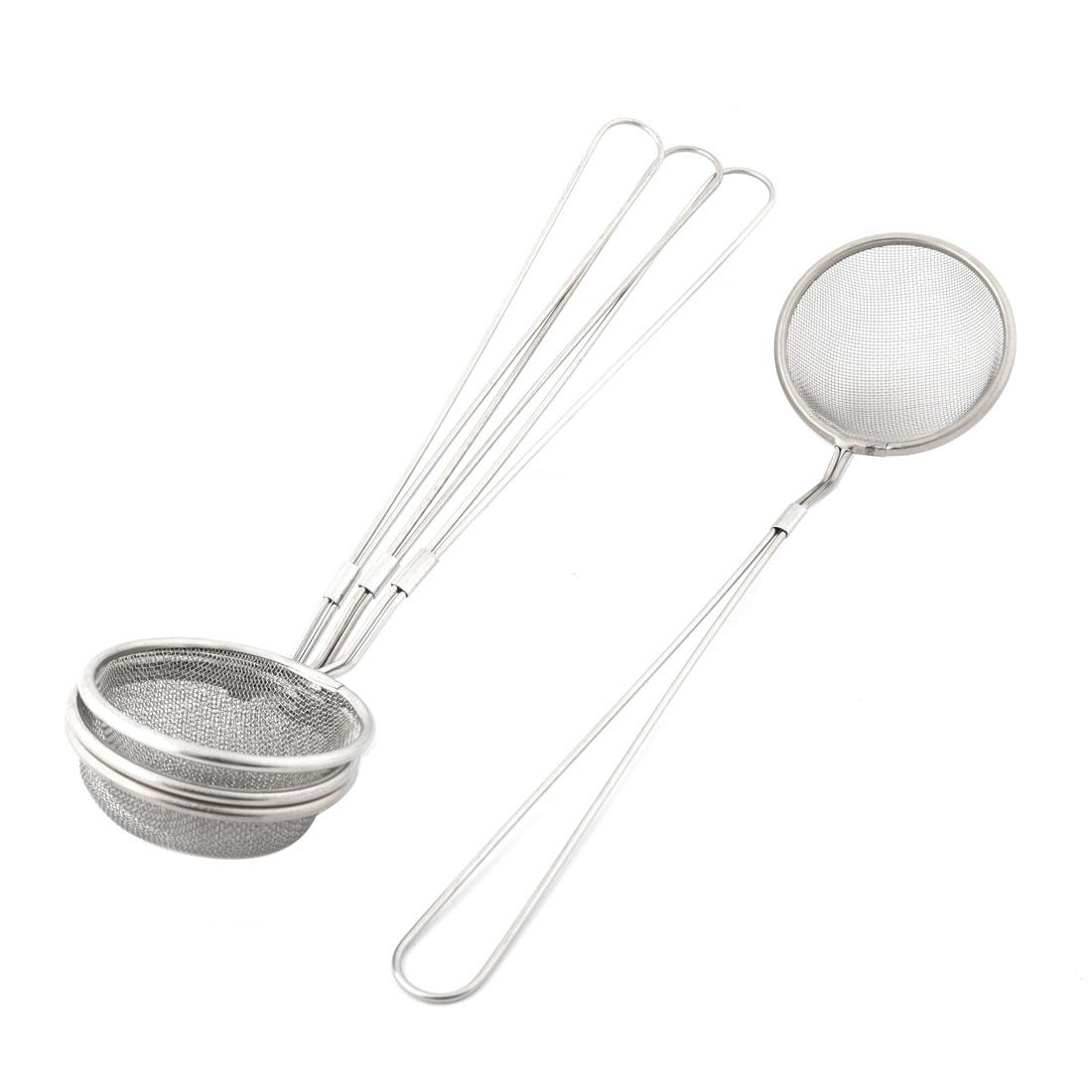 Home Kitchen Metal Flour Colander Grease Mesh Strainer Silver Tone 7cm Dia 4pcs