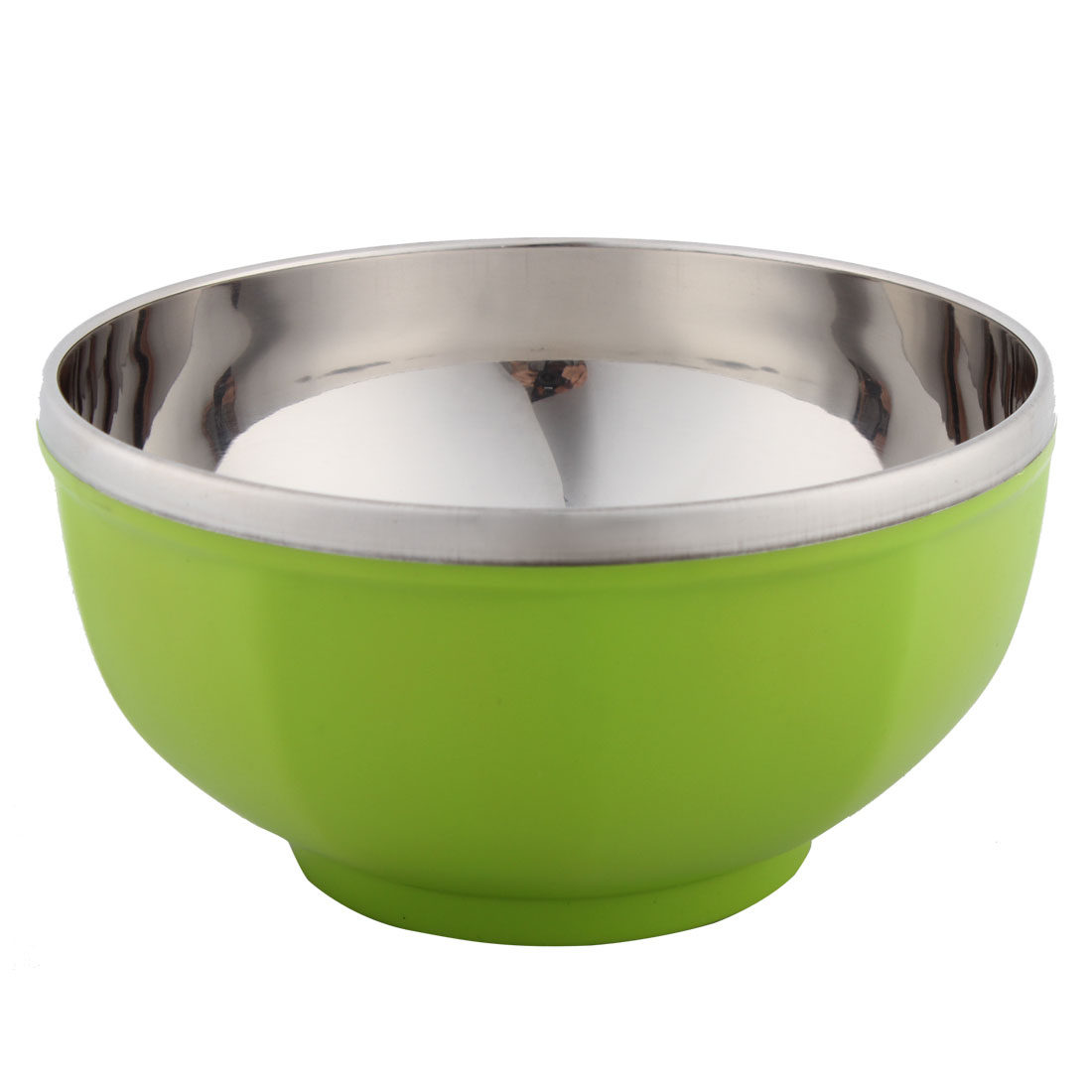 Home Kitchen Round Shaped Stainless Steel Dinner Rice Bowl Silver Tone 16.5cm Diameter