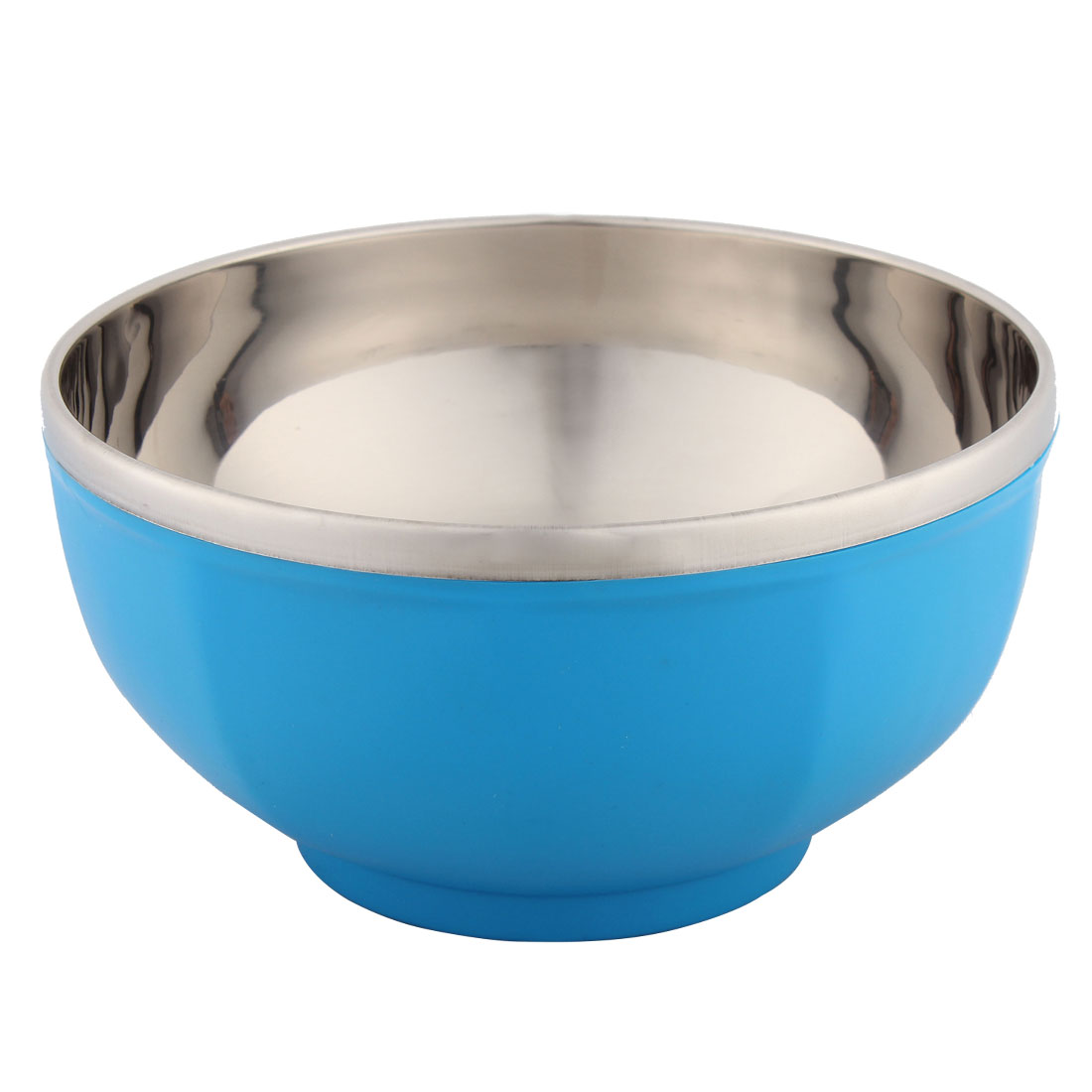 Household Cereal Salad Stainless Steel Food Dinner Bowl Blue 16.5cm Dia