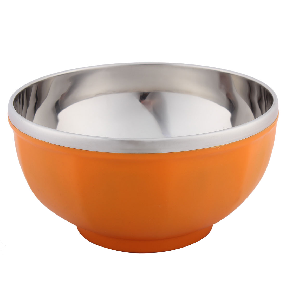 Kitchenware Round Shaped Stainless Steel Dinner Rice Bowl Orange 16.5cm Diameter