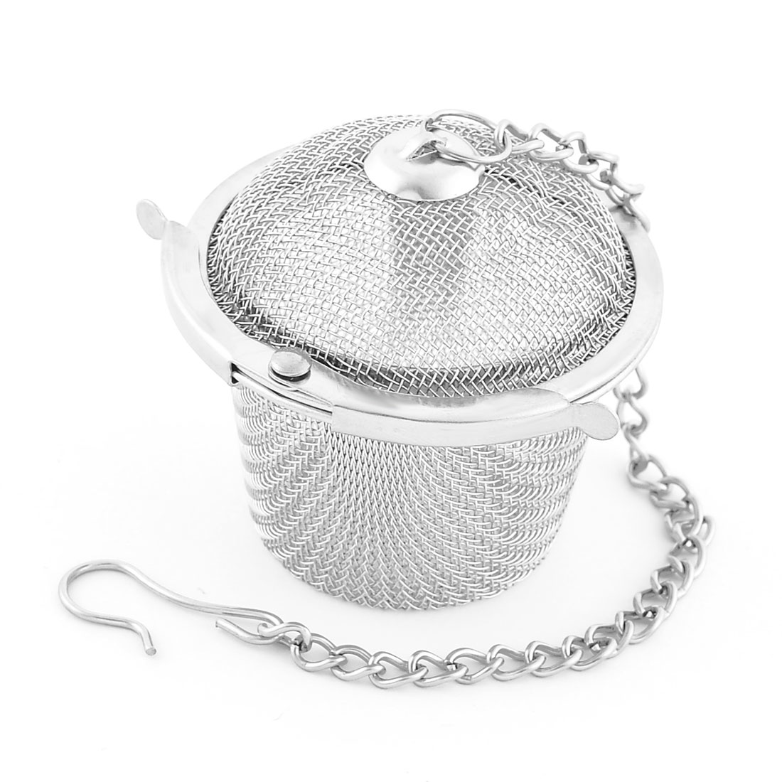 Round Shaped Mesh Locked Infuser Filter Tea Stainer Silver Tone 40mm Diameter